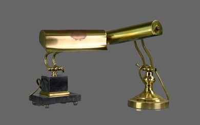 TWO 20TH CENTURY BRASS DESK LAMPS