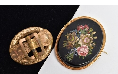 TWO VICTORIAN BROOCHES, to include a yellow metal hollow ova...