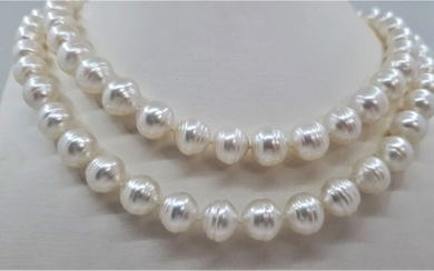 United Pearl -9x12mm Baroque Australian South Sea Pearls - 14 kt. White gold - Necklace