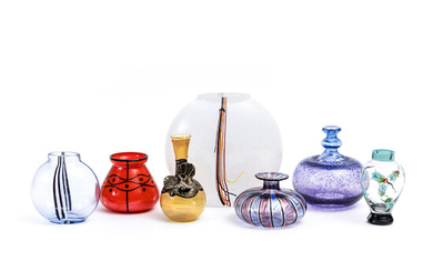 VASES, 7 pcs, glass, of which 4 pcs from Kosta Boda, 1900s.