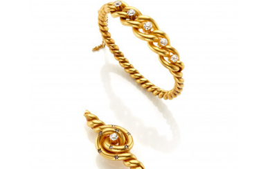 Yellow gold old mine diamond jewellery set consisting of a braided cuff bracelet with diam. cm 5.8 circa and a…Read more