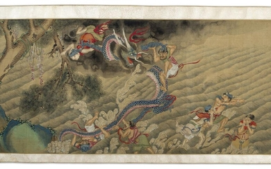 19th century Chinese School, ink and colour on silk handscroll, finely painted with immortals in an expansive wooded river landscape, 547x41cm