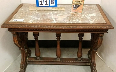 30'S CARVED WALNUT JACOBEAN STYLE MARBLE TOP COFFEE