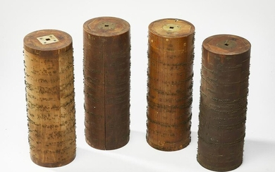 """(4) 19th c. French roller organ cylinder cobs, 13""""h"""