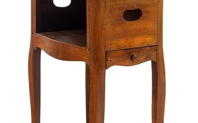 A Louis XV Style Marble-Top Walnut Side Table