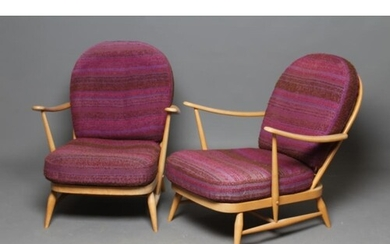 A PAIR OF ERCOL BEECH AND ELM ARMCHAIRS, model 203, with arc...