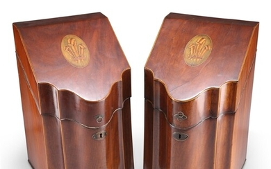 A PAIR OF GEORGE III INLAID MAHOGANY SERPENTINE KNIFE BOXES,...