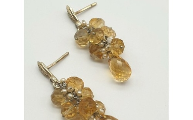 A Pair of Gold Drop Earrings with Diamonds. Amber, Citrine a...