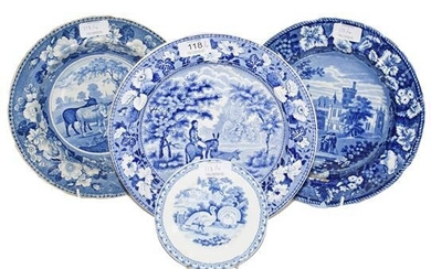 A Staffordshire Pearlware Soup Plate, circa 1830, printed in underglaze...
