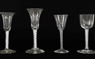 A Wine Glass, circa 1750, the bell shaped bowl on...