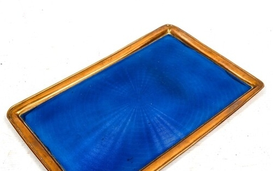 A brass and blue guilloche enamel dressing table tray, 30cm ...