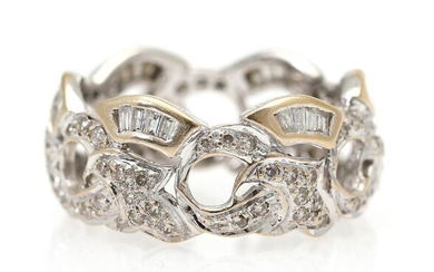 A diamond ring set with numerous brilliant- and baguette-cut diamonds, mounted in 18k white gold. Size 60. – Bruun Rasmussen Auctioneers of Fine Art