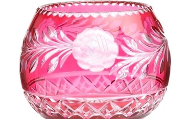 A large 20th Century continental crystal glass bowl cased in...