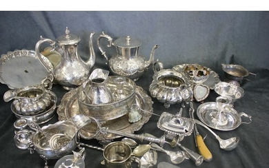 A late Victorian silver-plated three piece set, a sugar and ...