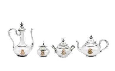 A mid-19th century French 950 standard silver and gold mounted four-piece bachelor tea and coffee service, Paris circa 1860 by Maurice Mayer (reg. 19 Aug 1846)