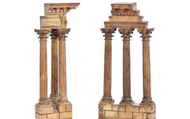 A pair of 19th century Italian 'Grand Tour' carved Siena marble models of the Temple of Vespasianus and the Temple of Castor and Pollux