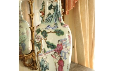 A pair of attractive large 19th Century Cantonese Famille Ve...
