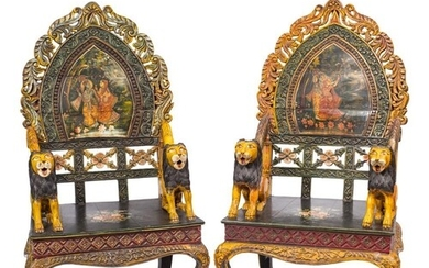 A pair of contemporary Indian carved wood and decorated thro...