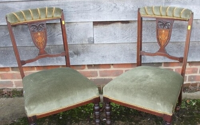 A pair of late 19th century mahogany and inlaid splat back s...