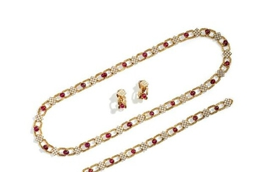 A ruby and diamond-set necklace, bracelet and pair of