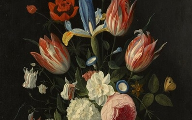 A still life of spring flowers in a glass vase on a table, Jan van Kessel the Elder