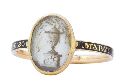 ANTIQUE ENAMEL MEMORI RING, the center depicting an urn on b...