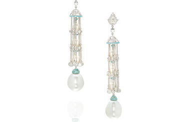 ASSAEL: A PAIR OF 18K WHITE GOLD, CULTURED PEARL, PARAÍBA TOURMALINE AND DIAMOND EARRINGS