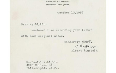 Albert Einstein Annotated Letter and Typed Letter