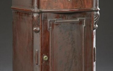American Victorian Carved Walnut Marble Top Bowfront