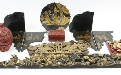 Asian Lacquerware, Cinnabar, Carved Decorations