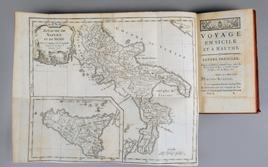 BRYDONE (Patrick). Voyage en Sicile et à Malthe, translated from the English by M. Demeunier. In Amsterdam, and found in Paris, by Pissot, 1776. 2 vols. in-12, XII-380 p. + [2] f., 367 p., pl., contemporary marbled havana calf, smooth and ornate...