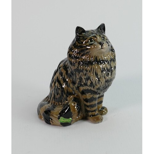 Beswick seated persian cat 1880: with swiss roll decoration.
