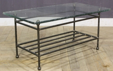 Brutalist Style Wrought Iron Coffee Table