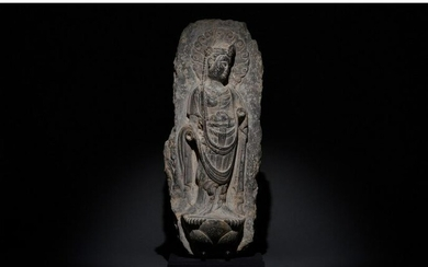 CHINESE TANG DYNASTY STONE PANEL WITH BUDDHA