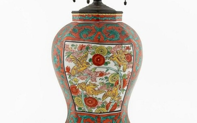 CONTINENTAL OCTAGONAL RED & GREEN GLAZE TABLE LAMP