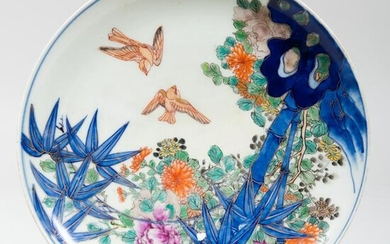 Chinese Blue and White Porcelain Shallow Dish Decorated