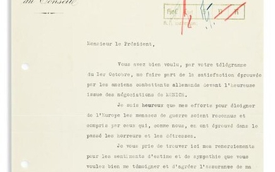 DALADIER, ÉDOUARD. Typed Letter Signed