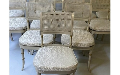 DINING CHAIRS, a set of twelve, Regency style grey painted a...