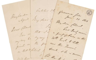 Disraeli (Benjamin, 1804-1881). A group of three autograph letters