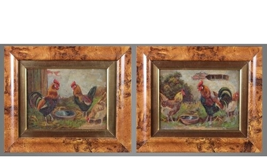 ENGLISH SCHOOL (Early 20th century), Cockerels, a pair, oil ...