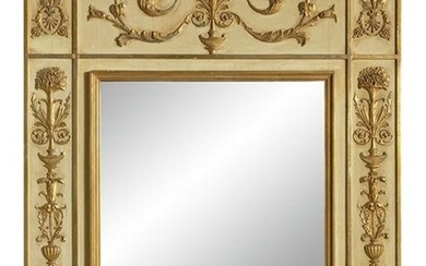 Empire Style Mirror with Floral Motif, Glass Mirror in