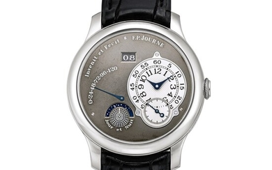 F.P. Journe | Octa Jour et Nuit, A limited edition platinum wristwatch with ruthenium dial, ruthenium-coated brass movement, date, power reserve and day and night indication, Circa 2003 | Octa Jour et Nuit 限量版鉑金腕錶,備釕金屬錶盤、釕金屬塗層銅製機芯、日期、動力儲備及晝夜顯示,約2003年製