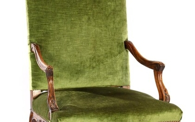 (-), Beautifully decorated walnut armchair with green lost...