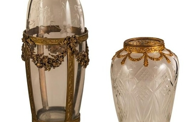 French Antique Cut Crystal & Gilt Metal Vases