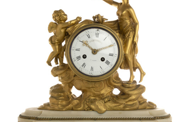 French Ormolu Gilded Bronze & Marble Table Clock HENRY DASSON (Paris), 19th c