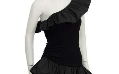Givenchy Black Ruffle One Shoulder Cocktail