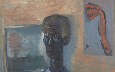John Melville, British 1902–1986 - Self-portrait, 1961; oil on canvas, signed and dated upper left 'John Melville 1961', 79 x 102 cm (ARR) Note: a self-taught artist, Melville was one the key members of the vital Brimingham Surrealists, along with...