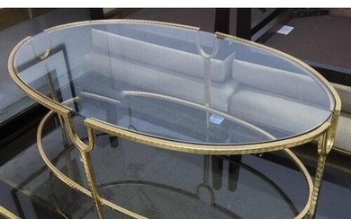 LOW TABLE, Maison Jansen style, gilt metal with oval glass t...
