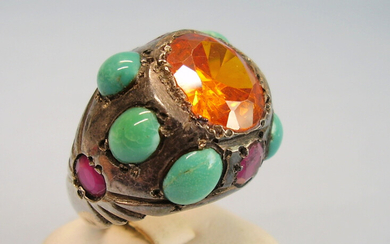 MEN'S RING MADAEIRA-CITRINE TURQUOISE VERNEUIL-RUBY.