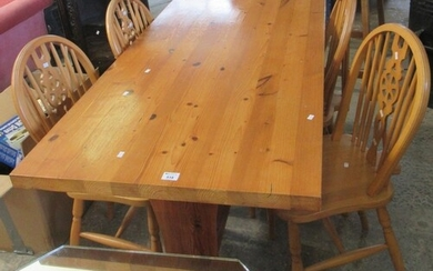 Modern pine refectory type table, together with a set of fou...